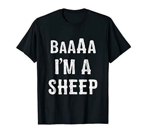 Mens I'm a Sheep Halloween Costume T Shirt Large Black -