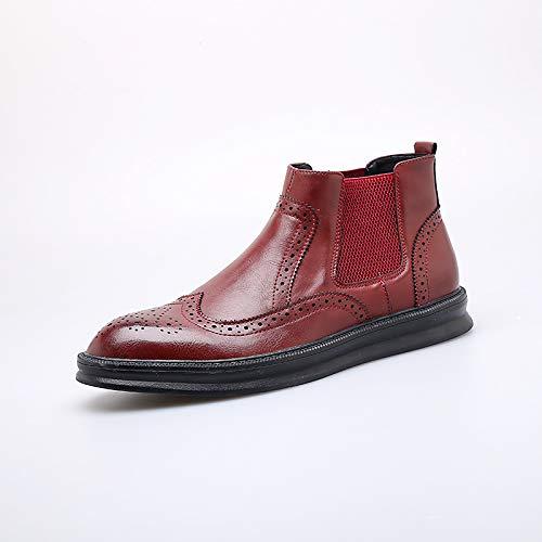 Shukun Herren Stiefel Herren Martin Stiefel Herren Herbst hoch Herrenschuhe geschnitzt Stiefel Stiefel erhöht wies Stiefel Männer