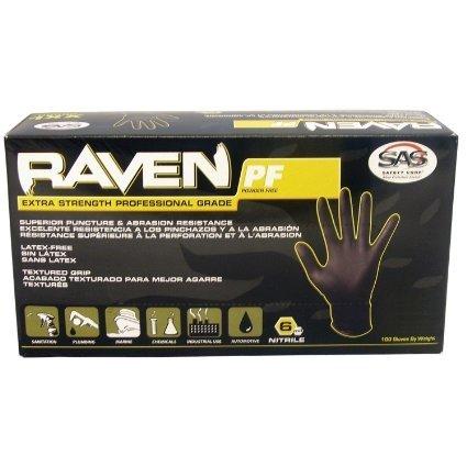 Raven Extra-Strength Professional Grade Gloves, Black, Large - 1000 ct.