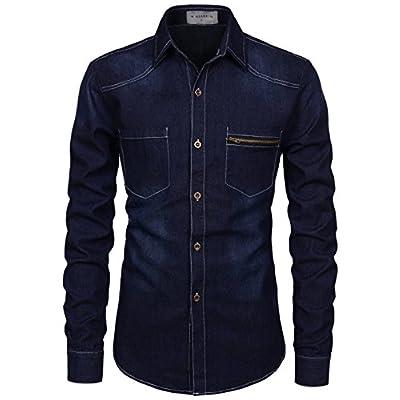Top NEARKIN Mens Slim Fit Medium Wash Denim Spandex Button Down Shirts supplier