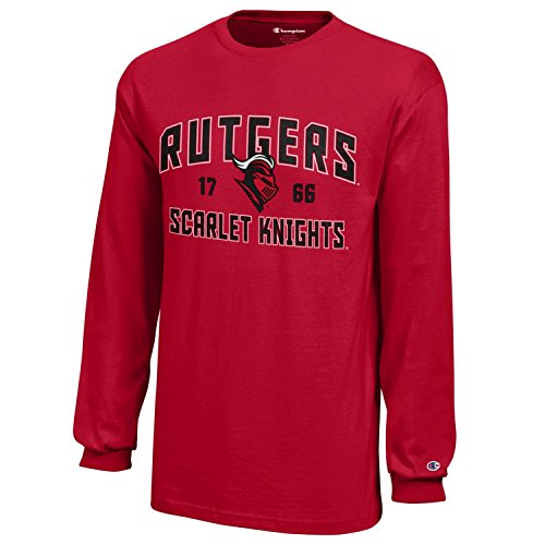NCAA Rutgers Knights Youth Boys Champion Long sleeve Jersey T-Shirt, Medium, Scarlet