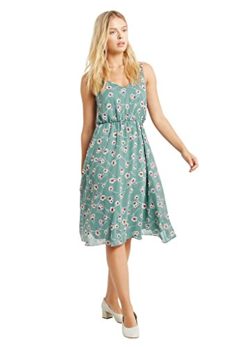 Women's Floral Printed V Neck Chiffon Straps Fit and Flare Midi Summer Dress USA Sage M (Floral Dress Sage Chiffon)