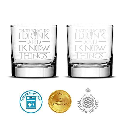 I Drink And I Know Things Highball Whiskey Glasses - Set of 2 - by FOLE (Image #1)
