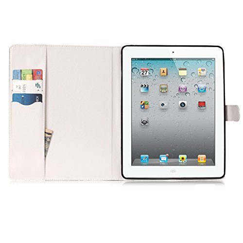 iPad 2/3/4 Case, Dteck(TM) Slim Flip PU Leather Wallet Case with Card Slots/Money Pouch Kickstand iPad Case Magnetic Closure Shell Full Body Protective Case Cover for Apple iPad 2 3 4,Pink Floral by Dteck (Image #7)