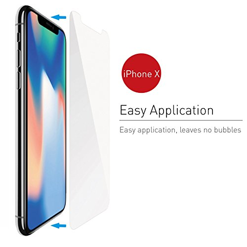 iPhone X Screen Protector, Macally Full HD Tempered Glass Screen Protector [Scratch-Resistant] for Apple iPhone X / 10 (TEMPX)