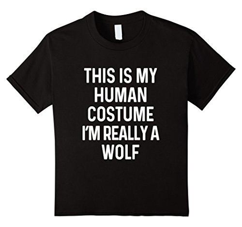 Halloween Wolf Costume Kids (Kids Funny Wolf Costume Shirt Halloween Men Women Kids 10 Black)