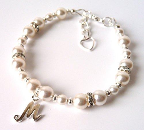 Flower Choose Color (Flower Girl Gifts, Flower Girl Bracelet, CHOOSE CHARM, SIZE & PEARL COLOR, Personalized Flower Girl Bracelet, Flower Girl Bracelet Pearl)