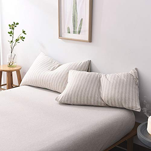 LIFETOWN Jersey Knit Cotton 2 Pieces Pillow Cases, Reversible Striped Deisgn, Super Soft and Breathable (King, Light Coffee/Off White) ()