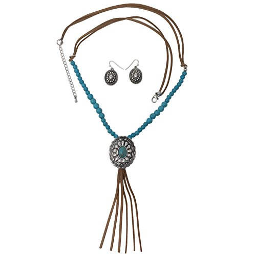 Southwestern Concho - Gypsy Jewels Long Faux Suede Tassel Fringe Western Style Necklace & Earrings Set - Assorted Styles (Imitation Turquoise Concho)