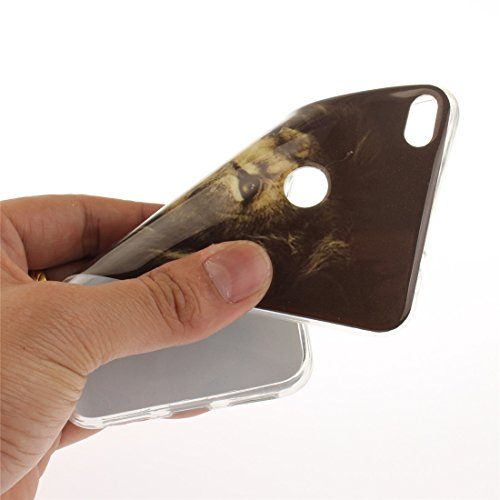 Hozor Huawei P8 Lite 2017 / Honor 8 Lite Cas, Motif Peint TPU Souple En Silicone Couverture Arrière Slim Fit Antichoc Scratch Résistant Cas De Téléphone De Protection Bord Transparent tiger