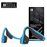AfterShokz Trekz Titanium Open-Ear Wireless Bone Conduction Headphones with Brilliant Reflective Strips, Ocean Blue, AS600OB-BR