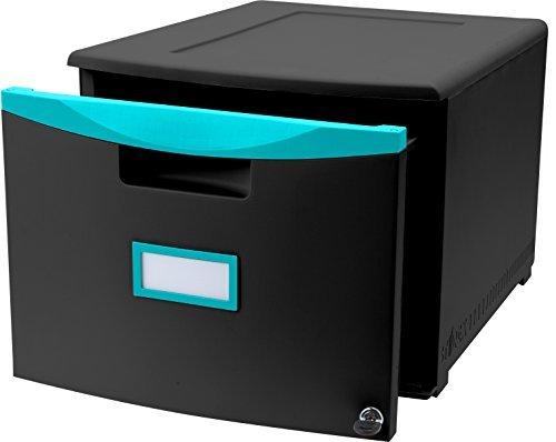 Storex 61270U01C Plastic 1-Drawer Mobile File Cabinet, Letter/Legal, Black/Teal