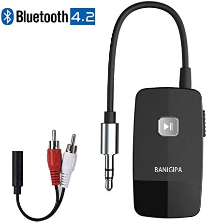 BANIGIPA Bluetooth 4.2 Receiver for Home Stereo, Wireless Audio Adapter with 3.5mm or RCA Aux Jack for Car Speaker, HIFI Music Streaming with Advanced CSR Chip, 16 Hours Playtime, 1 Second Turn On Off
