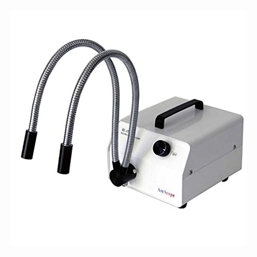AmScope 150W Fiber Optic Dual Gooseneck Microscope Light Illuminator