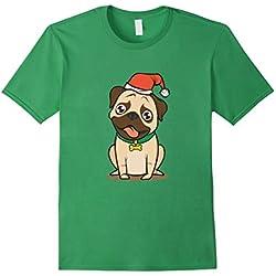 93c3ae590b4 Christmas T Shirt Pug in Santa Hat Green