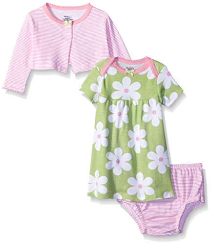 (Gerber Baby Three-Piece Cardigan, Dress and Diaper Cover Set, Flowers, New Born)