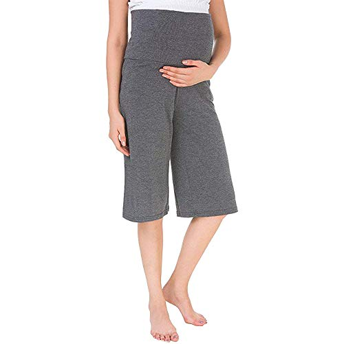 YoungMom Maternity Pants for Women Comfy High Waist Loose Shorts Capri Pajama Pants(XL,Charcoal)