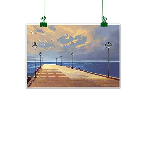 Warm Family Fantasy Wall Art Decor Poster Painting Watercolored Wooden Bridge Pier to The Sea Harbor Bay Coast Cloudy Day with Gull Decorations Home Decor 28