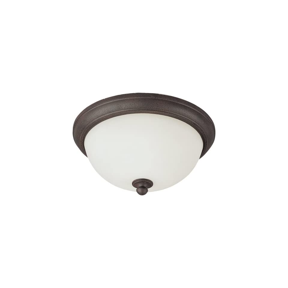 Sea Gull Lighting 75026 799 2 Light Pemberton Close to Ceiling Fixture, Etched Opal Glass and Peppercorn