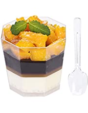 Foraineam 100 Pack 5.4 oz. Clear Plastic Dessert Cups with 100 Spoons Disposable Reusable Appetizer Cups Serving Bowl for Parties, Weddings and More