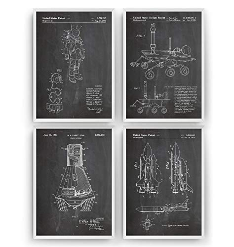 (Outer Space Patent Print - Set Of 4 - Nasa Science Poster Gift Astronaut Vintage Blueprint Spaceship Aerospace Wall Art Bedroom Sci-Fi Fan Decor Merchandise Rocket Geek Nursery - Frame Not Included )