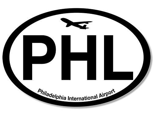 American Vinyl Oval PHL Philadelphia Airport Code Sticker (Jet Fly air hub Pilot)