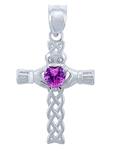October Birthstone Pink Heart CZ Sterling Silver Claddagh Cross Pendant