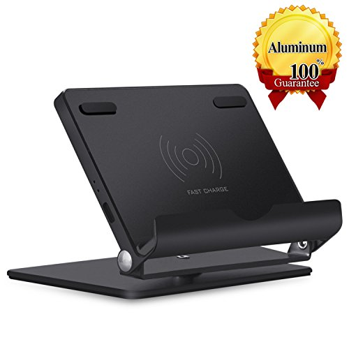 QI Fast Wireless Charger Stand,Venroii Wireless Charging Holder Stand Aluminum Multi-Angle Universal Phone and Tablet Stand QI Wireless Charging Stand for iPhone 8 X Plus Samsung Galaxy S8, S8 Plus by Venroii