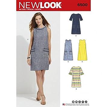 New Look Damen Schnittmuster 6500 Kleid mit Hals, Ärmel, & Pocket ...