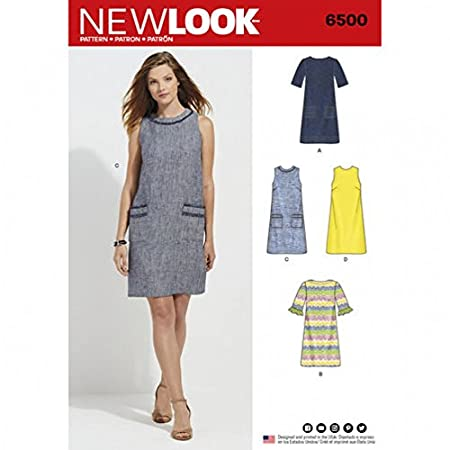 New Look Ladies Sewing Pattern 6500 Dress with Neck, Sleeve, & Pocket Variations