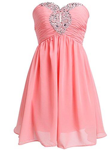 Fashion Plaza Chiffon Strapless Graduation Dresses for High School and College D0140 (US2, Honey Peach)