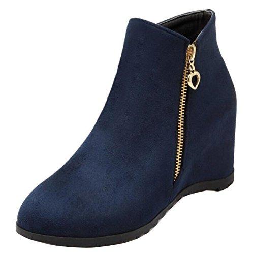 Mashiaoyi Women's Inner-increaser Flat Zip Suede Chukka Boots Blue AoaC30G
