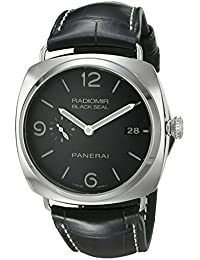 Men's PAM00388 Radiomir Stainless Steel Watch with Black Leather Band