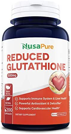 Reduced Glutathione 500mg - 200 Capsules Non-GMO & Gluten Free - L-Glutathione Antioxidant Support Liver Health & Detox - Max Strength L Glutathione Pills Help Immune & Brain Function