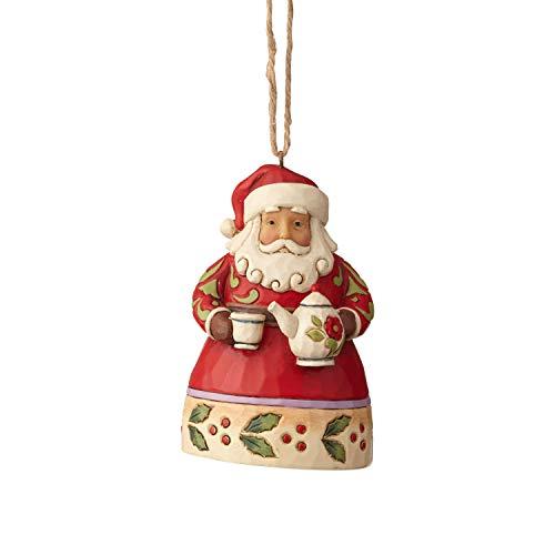 Enesco Jim Shore Heartwood Creek Mini Santa with Teapot Hanging Ornament, 3.75