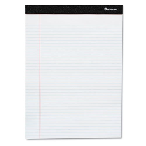 Universal® - Perforated Edge Ruled Writing Pads, Legal, 6/Pack, White - Sold As 1 Pack - Heavyweight 20-lb. paper with red margin rule is perforated for easy removal.