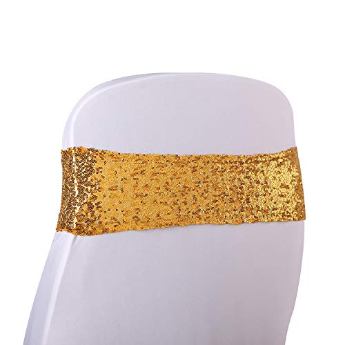 Kivvo 50pcs Chair Sashes Gold Bands for Wedding Chair, Shining Sequin Chair Bows for Party Decoration (Gold)