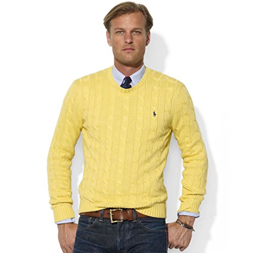 Polo Ralph Lauren Mens Crew-neck Cotton Cable Sweater (L, Fall Yellow)