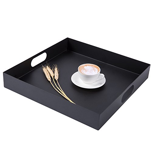 16 inch Square Metal Breakfast Serving Tray with Oval Cutout Handles, Matte Black by MyGift