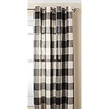 "Lorraine Home Fashions 09570-84-00146 BLACK Courtyard Grommet Window Curtain Panel, Black, 53"" X 84"""