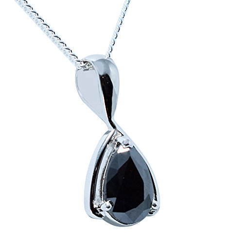 Faceted Pear Cut (skyjewels Certified 5.05 Ct Pear Faceted Black Diamond Silver Pendant with Free Silver Chain)