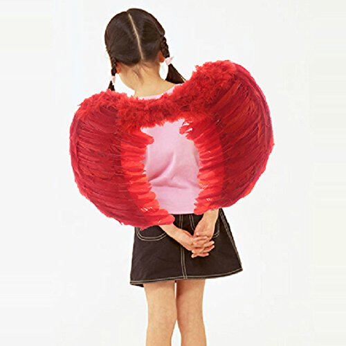 Anpanman Halloween Costume (Spritech(TM) Adult's Red Feather Angel Wings for Costume Party Stage Perform Halloween)