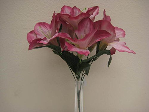 6 Bushes MAUVE Amaryllis 6 Artificial Silk Decoration Flowers Artificial Arrangement 16