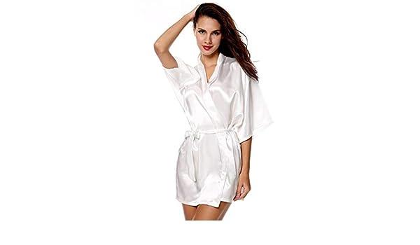 Kimono Mujer, Batas Cortos Ropa de Dormir Manchas Seda V-Cuello con Cinturón Pijama Lencería Bata de Satén: Amazon.es: Deportes y aire libre