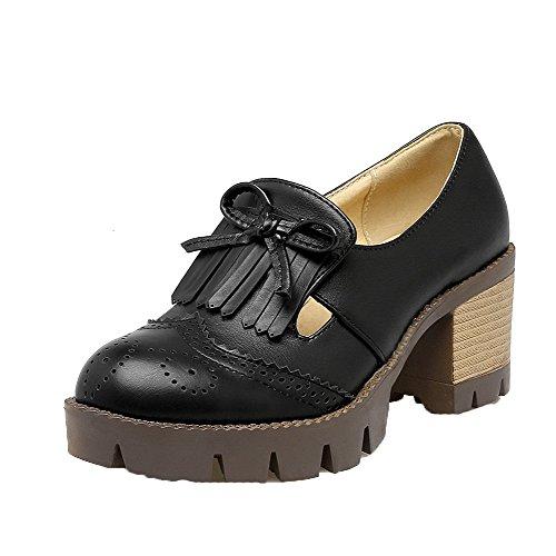 AmoonyFashion Womens PU Round-Toe Kitten-Heels Pull-On Solid Pumps-Shoes Black vtQyH