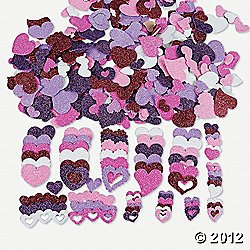 500 Fabulous Foam Self-Adhesive Glitter Hearts/Valentine's Day Arts & Crafts Supplies/ Party Supplies/Scrapbooking