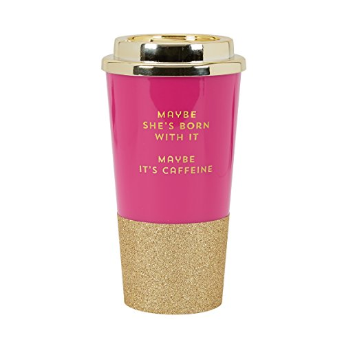 C.R. Gibson 16 Ounce Plastic Travel Cup With Glitter Base, Includes Plastic Lid, Perfect For On The Go, Travel & More, Measures 3.4