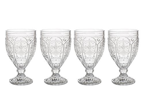 Trestle Glasses Collection, (Set of 4), Clear by Fitz and Floyd