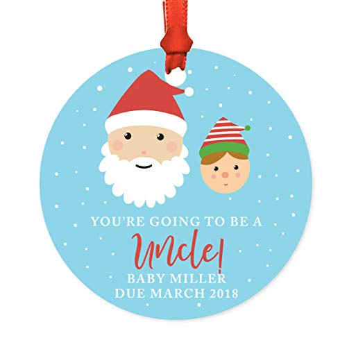 Andaz Press Personalized Pregnancy Announcement Metal Christmas Ornament, You're Going to be an Uncle! Baby Miller Due March 2019, Santa and Mrs. Claus with Elf, 1-Pack, Includes Ribbon and Gift Bag -  APP12208