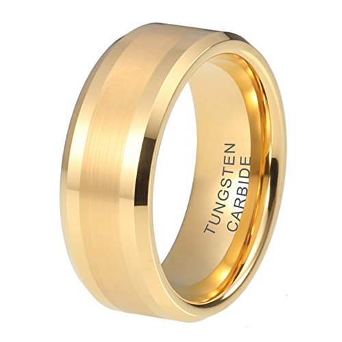 iTungsten 6mm 8mm Gold Tungsten Rings for Men Women Wedding Bands Beveled Edges Comfort Fit